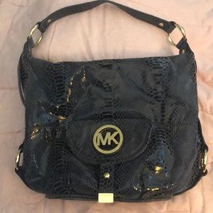 Michael Kors skinlike leather bag. Dark blue.